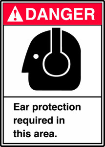 "ANSI Safety Sign - DANGER: Ear Protection Required In This Area., 14"" x 10"", Pack/10"