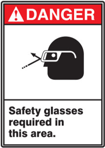 "ANSI Safety Sign - DANGER: Safety Glasses Required In Area, 14"" x 10"", Pack/10"