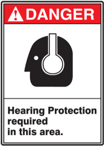 "ANSI Safety Sign - DANGER: Hearing Protection Required In This Area., 14"" x 10"", Pack/10"