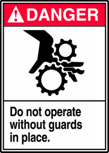 "ANSI Safety Sign - DANGER: Do Not Operate Without Guards In Place, 14"" x 10"", Pack/10"