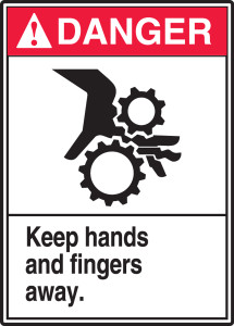 "ANSI Danger Safety Sign - Keep Hands And Fingers Away, 14"" x 10"", Pack/10"