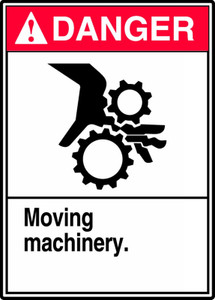 "ANSI Safety Sign - DANGER: Moving Machinery, 14"" x 10"", Pack/10"