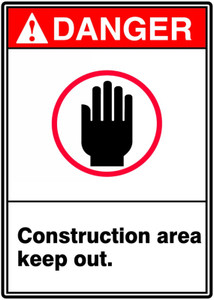 "ANSI Safety Sign - DANGER: Construction Area - Keep Out, 14"" x 10"", Pack/10"