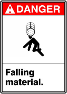 "ANSI Safety Sign - DANGER: Falling Material., 14"" x 10"", Pack/10"