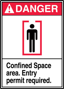 "ANSI Safety Sign - DANGER: Confined Space - Entry Permit Required, 14"" x 10"", Pack/10"