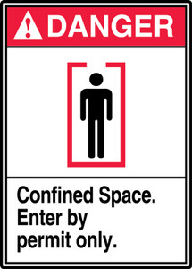 "ANSI Safety Sign - DANGER: Confined Space - Enter By Permit Only, 14"" x 10"", Pack/10"