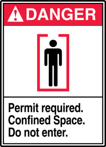 "ANSI Safety Sign - DANGER: Permit Required - Confined Space - Do Not Enter, 14"" x 10"", Pack/10"