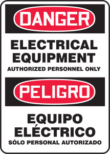 """Bilingual OSHA Safety Sign - DANGER: Electrical Equipment Authorized Personnel Only, 14"""" x 10"""", Pack/10"""