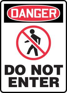 """OSHA Safety Sign - DANGER: Do Not Enter, 14"""" x 10"""", Pack/10"""