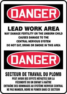 "Bilingual OSHA Safety Sign - DANGER: Lead Work Area, 14"" x 10"", Pack/10"