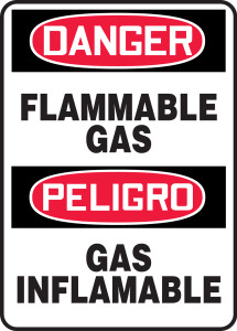 """Bilingual OSHA Safety Sign - DANGER: Flammable Gas, 14"""" x 10"""", Pack/10"""