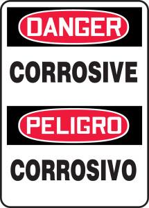 "Bilingual OSHA Safety Sign - DANGER: Corrosive, 14"" x 10"", Pack/10"