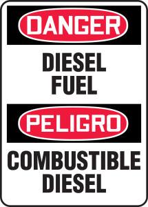 """Bilingual OSHA Safety Sign - DANGER: Diesel Fuel, 14"""" x 10"""", Pack/10"""