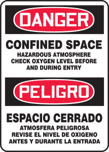 "Bilingual OSHA Safety Sign - DANGER: Confined Space Hazardous Atmosphere, 14"" x 10"", Pack/10"