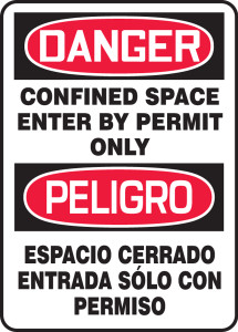 """Spanish Bilingual OSHA Safety Sign - DANGER: Confined Space - Enter By Permit Only, 14"""" x 10"""", Pack/10"""