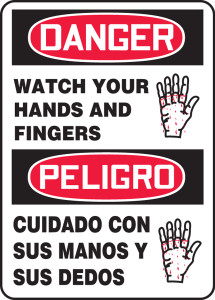 """Bilingual OSHA Danger Safety Sign - Watch Your Hands And Fingers, 14"""" x 10"""", Pack/10"""