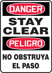 """Bilingual OSHA Danger Safety Sign - Stay Clear, 14"""" x 10"""", Pack/10"""
