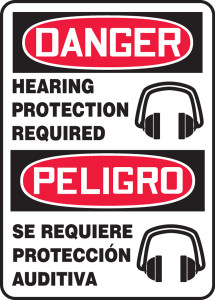"""Bilingual OSHA Safety Sign - DANGER: Hearing Protection Required, 14"""" x 10"""", Pack/10"""