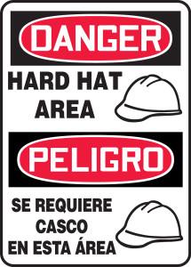 "Bilingual OSHA Safety Sign - DANGER: Hard Hat Area (Graphic), 14"" x 10"", Pack/10"
