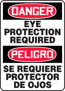 """Bilingual Spanish OSHA Safety Sign - DANGER: Eye Protection Required, 14"""" x 10"""", Pack/10"""