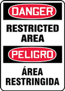 "Bilingual OSHA Safety Sign - DANGER: Restricted Area, 14"" x 10"", Pack/10"