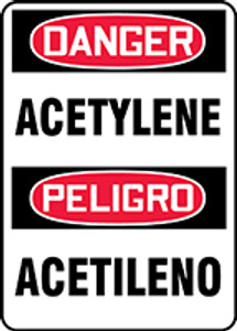 "Bilingual OSHA Safety Sign - DANGER: Acetylene, 14"" x 10"", Pack/10"