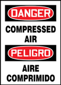 "Bilingual OSHA Safety Sign - DANGER: Compressed Air, 14"" x 10"", Pack/10"