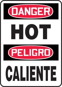 "OSHA Danger Bilingual Safety Sign: Hot / Caliente, 14"" x 10"", Pack/10"