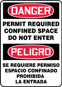 "Bilingual OSHA Safety Sign - DANGER: Permit Required - Confined Space - Do Not Enter, 14"" x 10"", Pack/10"