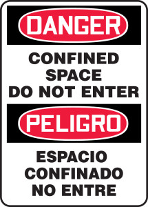 """Bilingual OSHA Safety Sign - DANGER: Confined Space Do Not Enter, 14"""" x 10"""", Pack/10"""