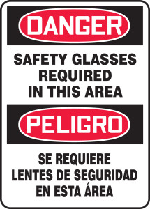"""Bilingual OSHA Safety Sign - DANGER: Safety Glasses Required In This Area, 14"""" x 10"""", Pack/10"""