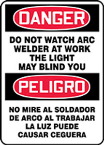 """Spanish Bilingual OSHA Safety Sign - DANGER: Do Not Watch Arc - Welder At Work - The Light May Blind You, 14"""" x 10"""", Pack/10"""