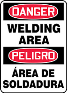 "Spanish Bilingual OSHA Safety Sign - DANGER: Welding Area, 14"" x 10"", Pack/10"