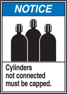 "ANSI Safety Sign - NOTICE: Cylinders Not Connected Must Be Capped., 14"" x 10"", Pack/10"