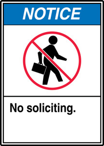 "ANSI Safety Sign - NOTICE: No Soliciting., 14"" x 10"", Pack/10"