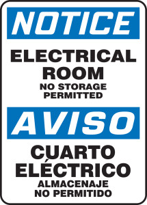"Bilingual OSHA Safety Sign - NOTICE: Electrical Room - No Storage Permitted, 14"" x 10"", Pack/10"