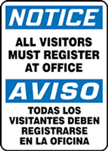 """Bilingual OSHA Safety Sign - NOTICE: All Visitors Must Register At Office, 14"""" x 10"""", Pack/10"""
