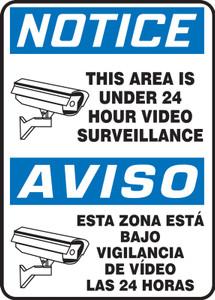 "Bilingual OSHA Sign, Under 24 Hour Video Surveillance, 14 x 10"", Each"