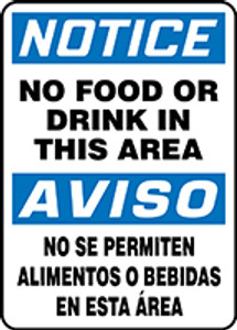 "Spanish Bilingual OSHA Safety Sign - NOTICE: No Food Or Drink In This Area, 14"" x 10"", Pack/10"