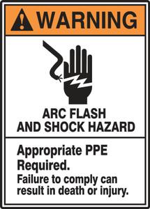 "ANSI Warning Sign: Arc Flash And Shock Hazard, 14 x 10"", Each"
