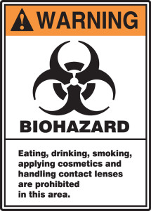 "ANSI Warning Safety Sign: Biohazard, 14"" x 10"", Pack/10"