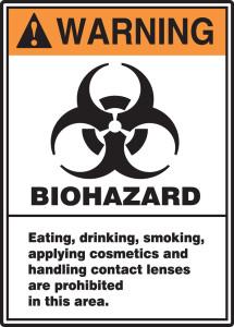 """ANSI Warning Safety Sign: Biohazard, 14"""" x 10"""", Pack/10"""