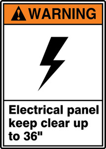 "ANSI Warning Safety Sign: Electrical Panel Keep Clear Up to 36"", 14"" x 10"", Pack/10"