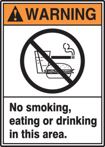 "ANSI Warning Safety Sign: No Smoking, Eating Or Drinking In This Area, 14"" x 10"", Pack/10"