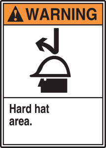 "ANSI Warning Safety Sign: Hard Hat Area, 14"" x 10"", Pack/10"