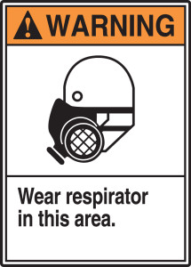 "ANSI Warning Safety Sign: Wear Respirator In This Area., 14"" x 10"", Pack/10"