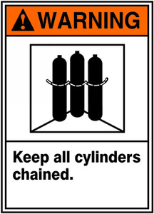 "ANSI Warning Safety Sign: Keep All Cylinders Chained, 14"" x 10"", Pack/10"