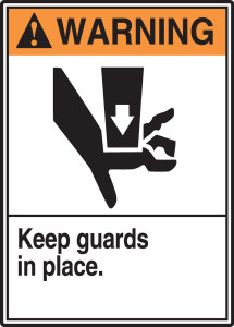 "ANSI Warning Safety Sign: Keep Guards In Place, 14"" x 10"", Pack/10"