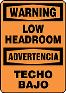 "Spanish Bilingual OSHA Warning Safety Sign: Low Headroom, 14"" x 10"", Pack/10"