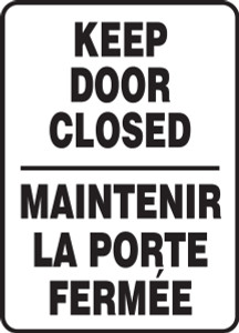 "Bilingual Safety Sign: Keep Door Closed, 14"" x 10"", Pack/10"